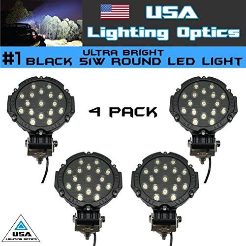 "#1 4x Black 51w Round USA Lighting Optics 7"" Led Light, Markets Brightest Spot Worklight, Off Road Fog Driving Roof Bar Bumper light 4x4 Jeep UTV Razor Raptor Tractor Polaris"