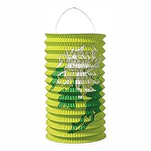 Luna Bazaar Accordion Paper Lantern (9-Inch, Chartreuse Green Chrysanthemums)