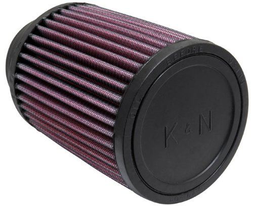 K&N RU-1460 Universal Clamp-On Air Filter: Round Straight; 2.75 in (70 mm) Flange ID; 5 in (127 mm) Height; 4 in (102 mm) Base; 4 in (102 mm) Top