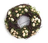Melrose Pack of 2 Easter and Springtime Speckled Tan Eggs with Moss Wreaths 15''