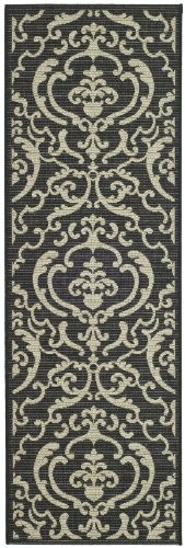 Safavieh Courtyard Collection CY2663-3908 Black and Sand Indoor/ Outdoor Runner (2'4