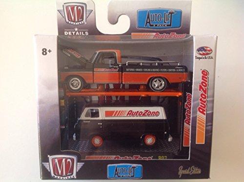 m2-machines-164-auto-lift-2-pack-autozone-exclusive-1969-ford-f-250-ranger-truck-orange-black-1965-f