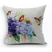 "Oil Painting Bird Hummingbird Throw Pillow Case Cushion Cover Decorative Cotton Blend Pillowcase for Sofa 18""X 18"""