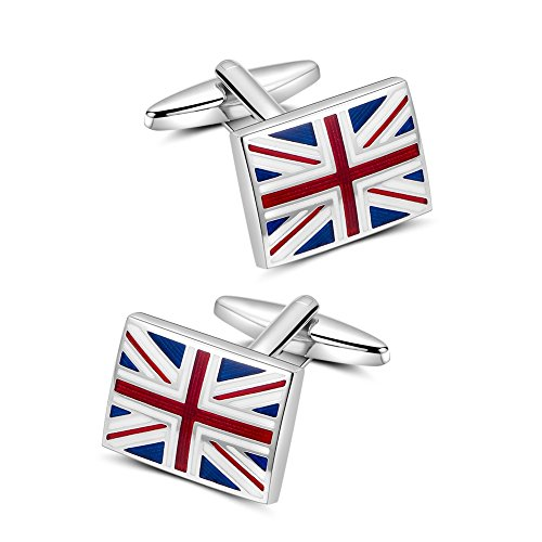 Flag Cufflinks, Mr.Van Flag of United Kingdom Cuff Links Set for Men's Business Wedding Party Jewelry Gift