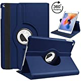 6th Generation iPad Case 2018 2017 / iPad Air 2 / iPad Air, HBorna 360 Degree Rotating Stand Cover Protection with Auto Sleep/Wake Function, 9.7'' Swivel Case for Apple iPad 6th 5th Air, Dark Blue