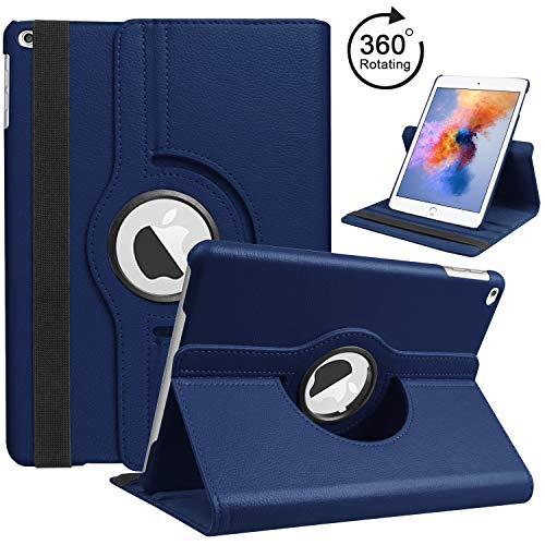 6th Generation iPad Case 2018 2017 / iPad Air 2 / iPad Air, HBorna 360 Degree Rotating Stand Cover Protection with Auto Sleep/Wake Function, 9.7'' Swivel Case for Apple iPad 6th 5th Air, Dark Blue (Apple Case Air Ipad Blue)