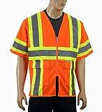 Safety Depot Class 3 ANSI ISEA Approved 6 Pocket Safety Vest High Visiblity 7138 (Solid Orange, Medium)
