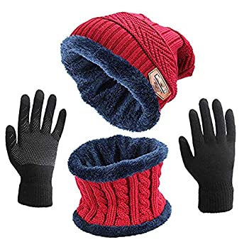 Hat Scarf and Glove Set ASYBHYY Winter Warm 3 in 1 Set a3aafd2a790f
