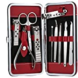 Red Stainless Steel Manicure Pedicure Set Nail-Clippers Cleaner Cuticle Grooming Kit Case 10 in 1