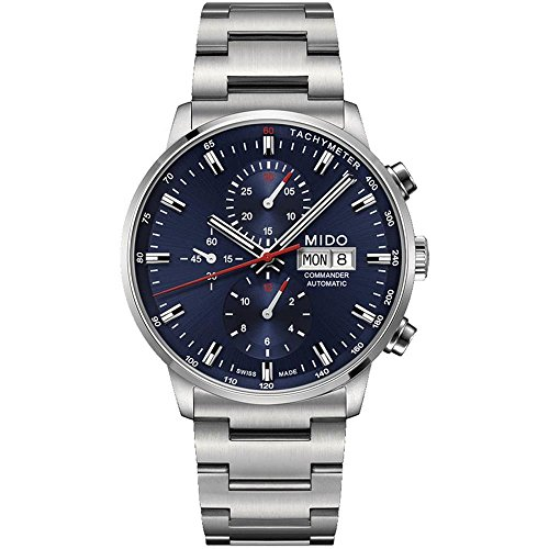 Mido Commander II Silver / Blue Stainless Steel Automatic Analog Men's Watch M016.414.11.041.00 (Mens Commander Chronograph Watch)