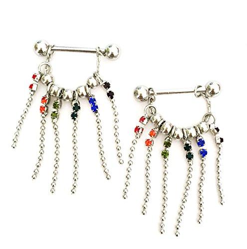 hyidealism pezón anillo de barras Multicolor gemas borlas cuerpo piercing joyas par 14G se vende como par