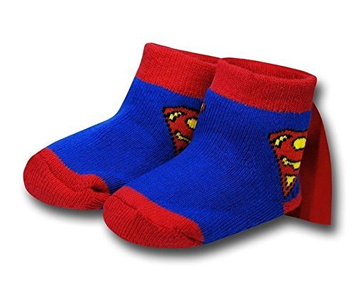 Superman Infant Socks with Cape, Blue, Red, One Size ()
