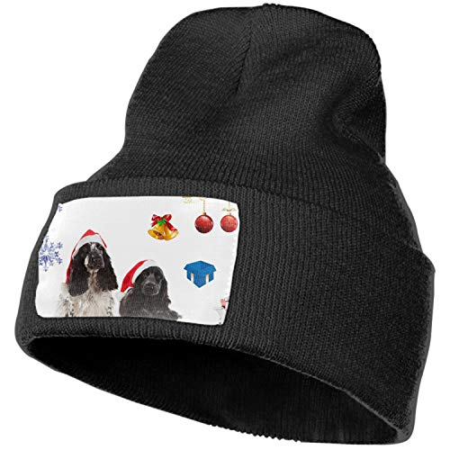 SHUIZHIQING Unisex Thick Oversized Cable Knitted Fleece Lined Cocker Spaniel Christmas Gathering Beanie Hat with Hair Tie.