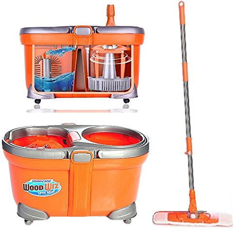 Spin Mop Washer/Dryer Bucket Spins Your Mop Clean Heavy Duty Woodwiz