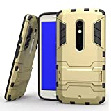 DWay Motorola X Play Case Hybrid Armor Design with Stand-up Feature 2 In 1 Combo Dual Layer Detachable Protective Shell Phone Hard Back Cover Case for Motorola Moto X Play 5.5inches (Gold)