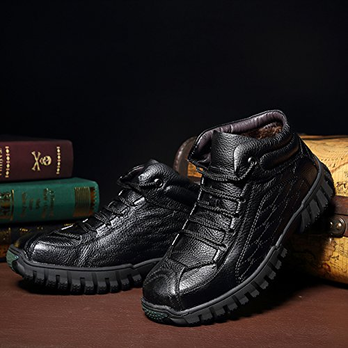 Cowhide Black Shoes Travel Warm Boots Antiskid Outdoor Men Work Office GOMNEAR Snow Winter Casual For ATqxgFfw8S