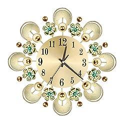 Pinleg Wall Clock, Wrought Iron Diamond Fashion Wall Clock Bedroom Silent Metal Decor Vintage Flower-Studded Wrought Iron Clock for Rooms Coffee Shop Hall Study
