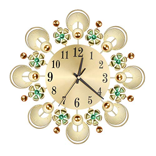 - FeiFei66 Wrought Lordliness Flower Set with Diamond Fashion Wall Clock Bedroom Silent Metal Wall Clock Decor Gold