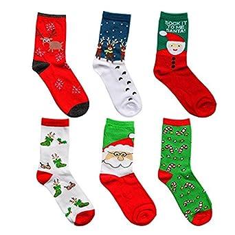 tango womens cute pattern colorful cotton socks novelty socks funny christmas socks crew casual socks 6 pack at amazon womens clothing store - Funny Christmas Socks
