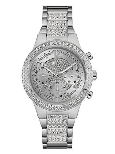 GUESS Women's Stainless Steel Crystal Accented Watch, Color: Silver-Tone (Model: U0850L1)