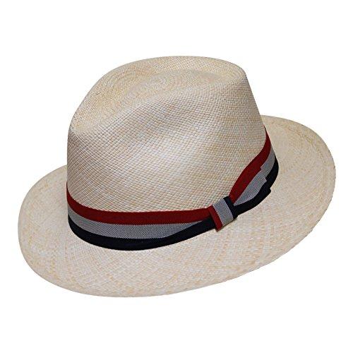 Borges   Scott Teardrop Fedora Panama Hat - Natural Straw with ... 20d0b7db2da1