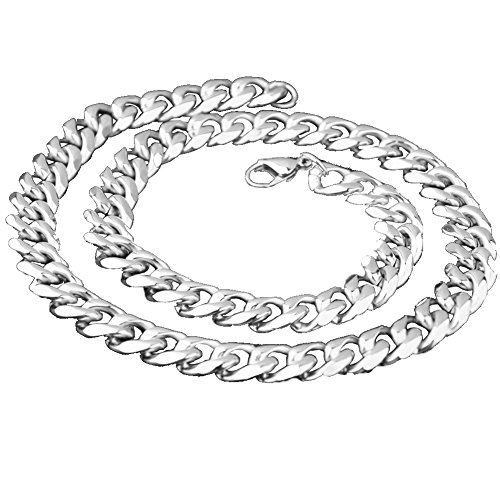 Stainless Steel 11mm Link Curb Cable Chain Necklace for Men Women, 14