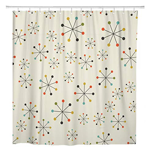 ArtSocket Shower Curtain 1950S Mid Century Absctract Geometric Pattern Space Retro Modern Home Bathroom Decor Polyester Fabric Waterproof 72 x 72 Inches Set with Hooks ()
