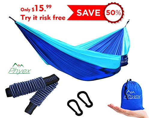 - Phyex Double Camping Hammock - Lightweight Hammock for Camping, Travel, Hiking, Beach, Yard. Fit 2 Person, 118