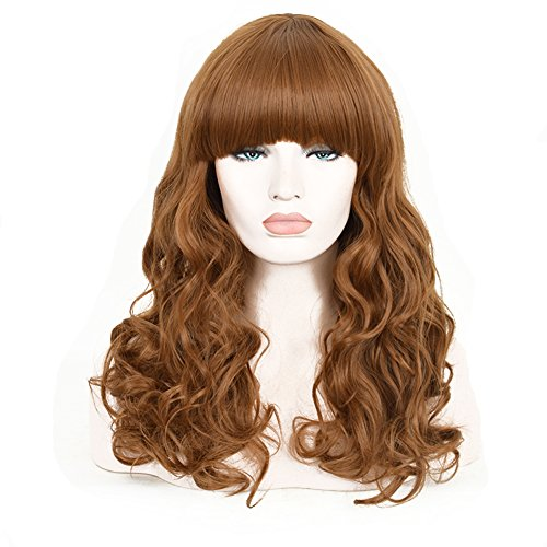 CosHouse 2016 Hot Girls Long Curly Wigs Fashion Brown Korean Style Natural Fluffy Full Wigs with Bangs 24 - 2016 Styles Junior