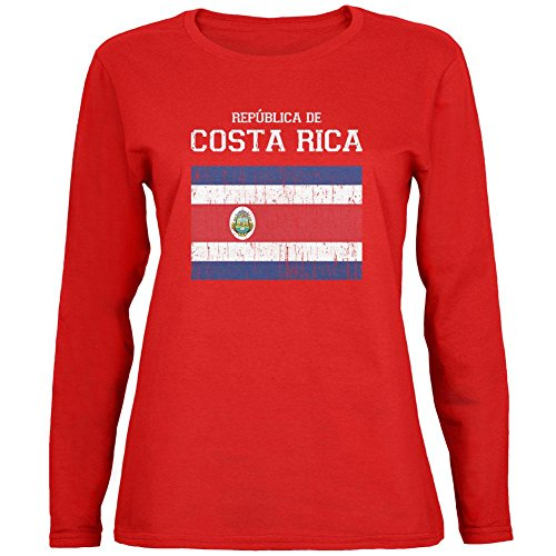 World Cup Distressed Flag Republica de Costa Rica Red Womens Long Sleeve T-Shirt - X-Large