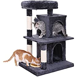 SONGMICS Multi-Level Cat Tree with Feeder Bowl, Sisal-Covered Scratching Posts, Dual Condo, Activity Centre Cat Tower Furniture, Smoky Grey UPCT57G