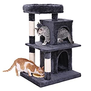 FEANDREA SONGMICS Multi-Level Cat Tree with Feeder Bowl, Sisal-Covered Scratching Posts, Dual Condo, Activity Centre Cat Tower Furniture, Smoky Grey UPCT57G 83