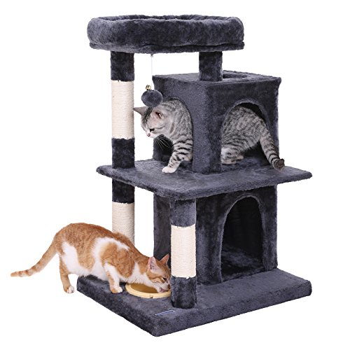 l Cat Tree with Feeder Bowl, Sisal-Covered Scratching Posts, Dual Condo, Activity Centre Cat Tower Furniture, Smoky Grey UPCT57G   ()