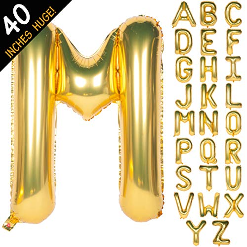 Letter Balloons 40 Inch Giant Jumbo Helium Foil Mylar for Party Decorations Gold M (M Letter Balloons)