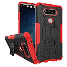 LG V20 Case, NOKEA Heavy Duty Hybrid Armor Rugged Dual Layer Case with kickstand Shock Proof Tough Rugged Dual-Layer Case for LG V20 (Red)