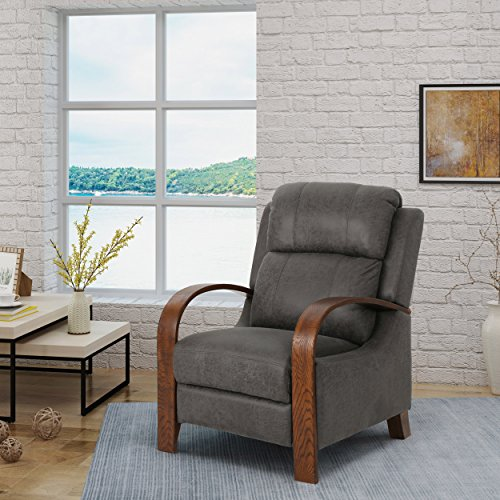 Cheap Great Deal Furniture | Randall | Traditional Exposed Wood Microfiber Recliner | in Slate