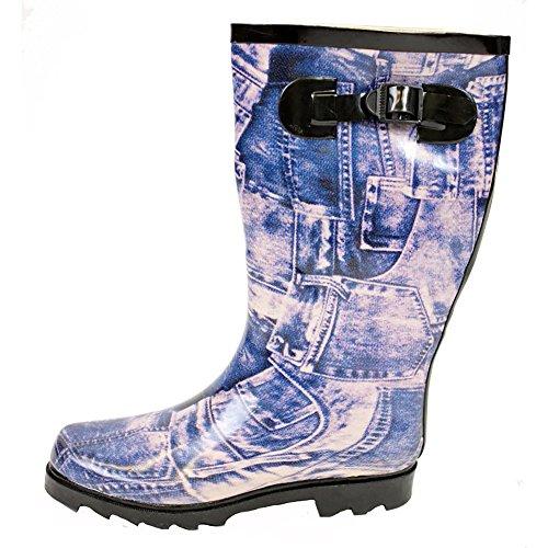Boots 7 F Blue Wellys Snow Moon Rain Wellies 5 Style Black Size Ladies 9 Wellington Womens Winter 6 8 4 Fur ZvHxRqAg