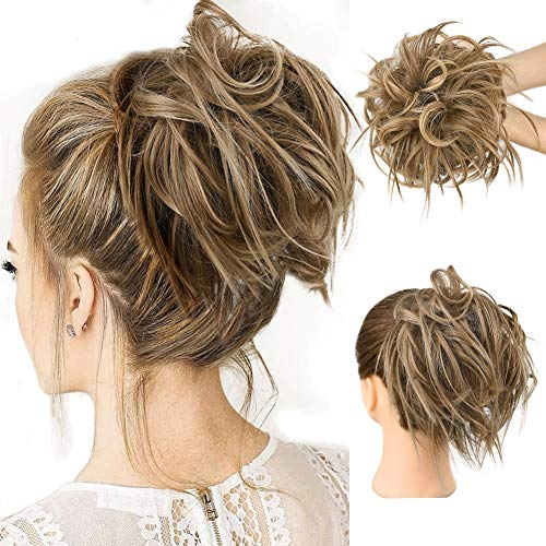 Tousled Updo Messy Bun Hair Piece Hair Extension Ponytail With Elastic Rubber Band Updo Extensions Hairpiece Synthetic Hair Extensions Scrunchies Ponytail Hairpiece for Women (Color:12H24#)
