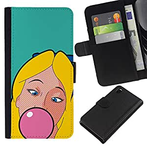Sony Xperia Z3 D6603 / D6633 / D6643 / D6653 / D6616 , la tarjeta de Crédito Slots PU Funda de cuero Monedero caso cubierta de piel ( Chewing Gum Bubble Pink Blonde Girl Woman)