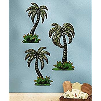 Amazon Com Palm Tree Wall Decor Metal Set Of 3 Outdoor