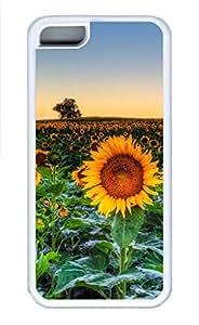 iPhone 5c case, Cute Sunflower Field Sunset iPhone 5c Cover, iPhone 5c Cases, Soft Whtie iPhone 5c Covers by mcsharks