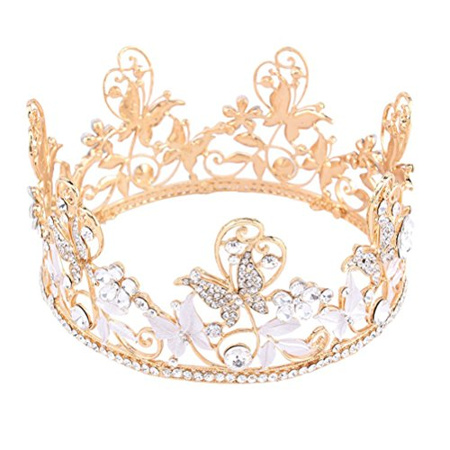 Frcolor Round Crown Bridal Headdress, Whole Ring Knot Wedding T Head Crown European Retro Court Flash Diamond Crown Accessories ()