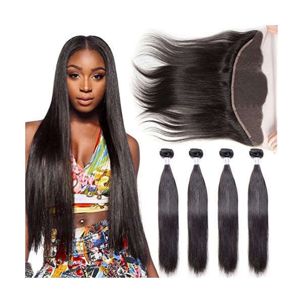 8a Brazilian Virgin Straight Hair Weave 4 Bundles With Lace Frontal