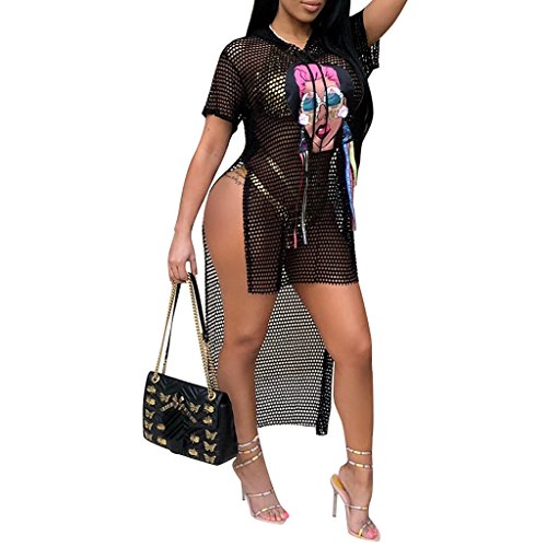 Remxi Women Graffitti Bikini Cover Ups T-Shirt Beach Bathing Suit Cover Up Mesh Swimwear Dress Black XL by Remxi