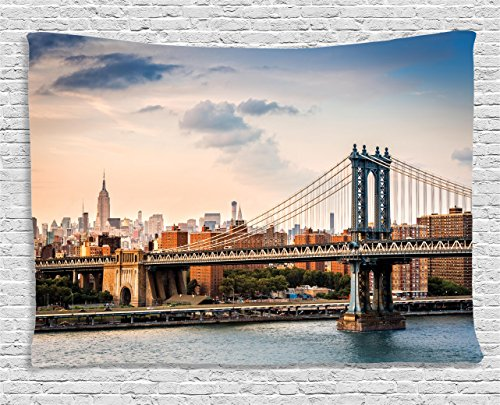 "Ambesonne New York Tapestry, Manhattan Bridge and The New York Skyline at Sunset East River Highrise Buildings, Wide Wall Hanging for Bedroom Living Room Dorm, 60"" X 40"", Brown Blue"