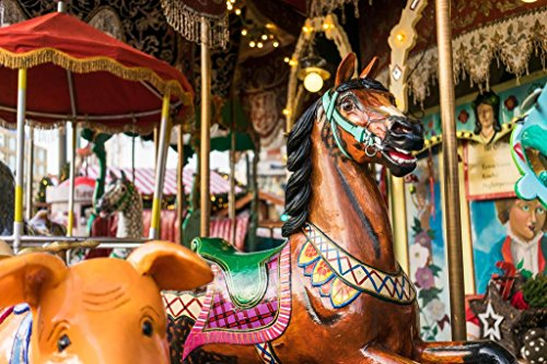 Carousel at a Carnival Photo Art Print Mural Giant Poster 54x36 inch