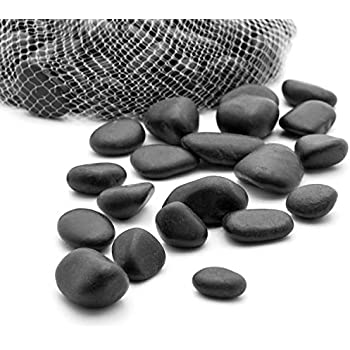 Royal Imports 5lb Large Decorative Ornamental River Pebbles Rocks for Landscaping, Home Decor etc. (Not for Aquariums) with Netted Bag, Black