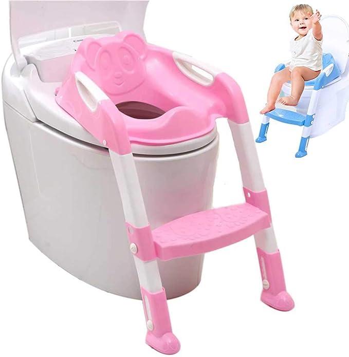 Kinder Toilettensitz für Toilettenbecken, WC-Kindersitz mit Leiter, Treppe oder Abenkautomatik