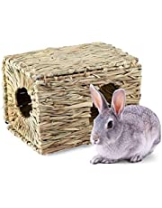 Grass Hut, AUOKER Natural Hand-Woven Folding Multifunctional Grass Cage, Small Animals House and Chew Toy for Rabbit Hamster Squirrel Guinea Pig Cavy