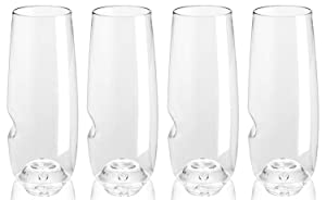 Govino 8 Ounce Dishwasher Safe Series Flute Glasses,Champagne Set of 4